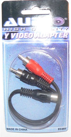 """6"""" RCA Female Jack to 2 Male Plug Audio Y Adapter Cable - FREE SHIP!"""