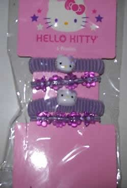 HELLO KITTY 4 PIECE HAIR PONIES SET IN PURPLE - NIP + FREE SHIPPING