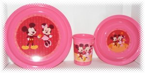 Mickey & Minnie Mouse Children's NEW 3 PC Dinning Set Plate + Bowl + Cup + FREE SHIPPING