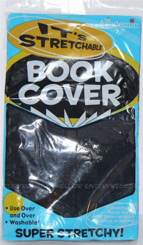 """IT'S STRETCHABLE & WASHABLE BLACK BOOK COVER 12 3/4"""" X 6 3/4""""  - NIP & FREE SHIPPING"""