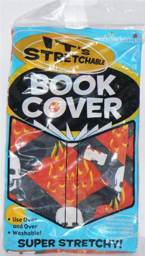 """IT'S STRETCHABLE & WASHABLE SKULL & FLAMES BOOK COVER 12 3/4"""" X 6 3/4"""" - NIP & FREE SHIPPING"""
