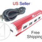 4 Port USB 2.0 Hub Aluminum High Speed 480Mbps Red Tube + USB Cable - FREE SHIPPING