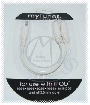 myTunes Dual 3.5mm Headphone Earphone Jack Y Splitter *White*- iPOD & All 3.5mm Jacks -FREE SHIP