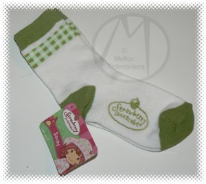 STRAWBERRY SHORTCAKE TROUSER SOCKS 1 PAIR SIZE 7 GREEN PLAID - NWT + FREE SHIPPING!