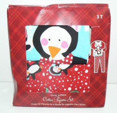 Girls Skiing Penguins PJ's Cotton Pajamas Set 3T Christmas NIP 'Cool & Cute'