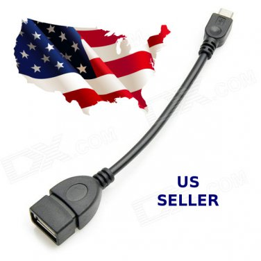 Micro USB Host Mode OTG Cable Cord Adapter for Cell Tablet Samsung - BLACK - BULK -  FREE SHIPPING!
