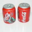Coca Cola Ceramic Mini Cans Salt and Pepper Shakers Vintage - USED - FREE SHIPPING