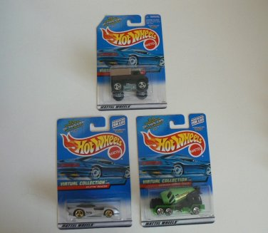 """LOT of 3 Hot Wheels """"Virtual Collection"""" 2000's New In Packaging Not Opened - FREE SHIP"""