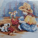 Little Buckaroo Needlepoint Kit by Linda Gillum cowboy boots hat boy puppy 528