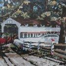 Old Country Bridge needlepoint kit by Mildred Sands Kratz horse buggy covered bridge vintage 483