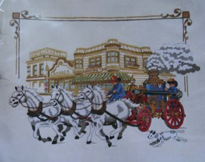 Engine Co. #1 by Barbara & Randy Jennings vintage crewel embroidery kit from Sunset Designs 1120