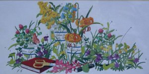 Wildflowers by Nancy Rossi very rare vintage crewel embroidery kit from Sunset Designs 1110