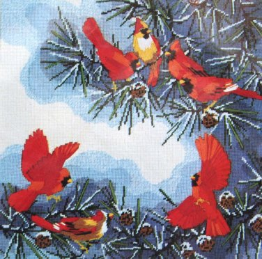 The Cardinals by Roger Reinardy vintage needlepoint kit Unopened 1601