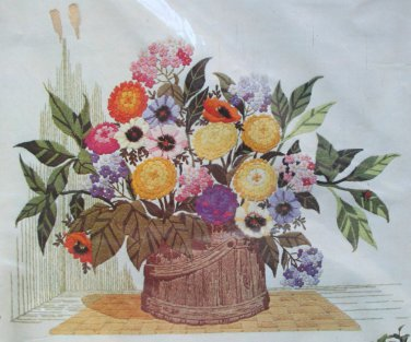Bright in a Corner by Georgia Ball vintage crewel kit flowers bucket floral Unopened 1633