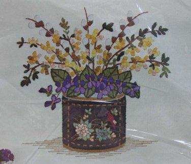 Black Laquer Vase by Barbara Sparre crewel kit flowers floral Unopened 2014