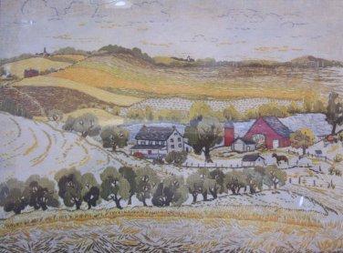 Summer Valley by Elaine Thompson crewel kit farm fields primitive Unopened 1085