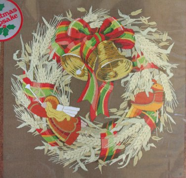 Nature's Wreath by Charlene Gerrish crewel kit wheat plaid ribbon bells Unopened 1678