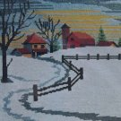 Snowbound Picture from LeeWards vintage needlepoint kit winter farm rail fence barn Unopened 2031