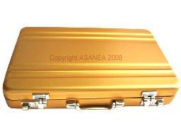 BUSINESS CARD HOLDER / PILL BOX / METAL KEY CASE - BRIEFCASE DESIGN GOLD ECBCH-A1007