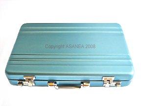 BUSINESS CARD HOLDER / CARD CASE / METAL WALLET - BRIEFCASE DESIGN SKY BLUE / BLUE ECBCH-A1006