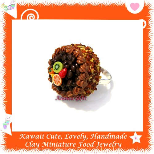 FOOD JEWELRY - HANDCRAFTED JAVA BEAN MINIATURE CAKE PENDANT RING ECMFJ-RG2012