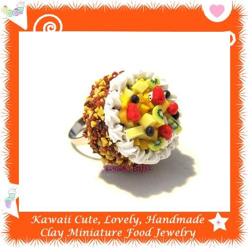 FOOD JEWELRY - HANDCRAFTED MINIATURE TROPICAL FRUIT CAKE PENDANT RING ECMFJ-RG2010