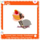 FOOD JEWELRY - HANDCRAFTED MINIATURE CAKE SLICE ON PLATE PENDANT RING ECMFJ-RG1020