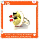 FOOD JEWELRY - HANDCRAFTED MINIATURE ROLL CAKE SLICES ON PLATE PENDANT RING ECMFJ-RG2007