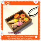 FOOD JEWELRY - HANDCRAFTED MINIATURE FOOD TRAY PENDANT NECKLACE ECMFJ-PE1001