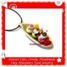 FOOD JEWELRY - HANDCRAFTED MINIATURE ICE CREAM SUNDAE PENDANT NECKLACE ECMFJ-PE1005