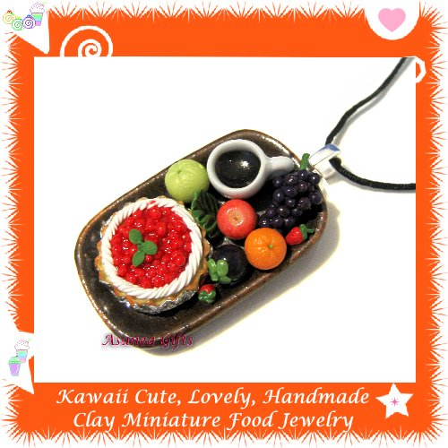 FOOD JEWELRY - LOVELY MINI CHERRY TART COFFEE AND FRUIT PENDANT NECKLACE ECMFJ-PE2001