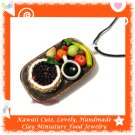 FOOD JEWELRY - LOVELY MINI BLUEBERRY TART COFFEE AND FRUIT PENDANT NECKLACE ECMFJ-PE2003