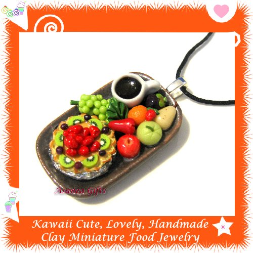 FOOD JEWELRY - LOVELY MINI STRAWBERRY KIWI PIE COFFEE AND FRUIT PENDANT NECKLACE ECMFJ-PE2005