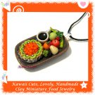 FOOD JEWELRY - LOVELY MINI KIWI PIE COFFEE AND FRUIT PENDANT NECKLACE ECMFJ-PE2002