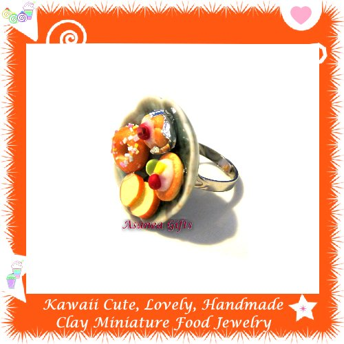 HANDCRAFTED JEWELRY - MINIATURE FOOD PLATE PENDANT RING ECMFJ-RG1024
