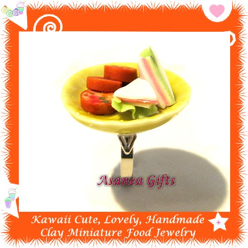 HANDCRAFTED JEWELRY - MINI SANDWICH CAKE PLATE PENDANT RING ECMFJ-RG1015
