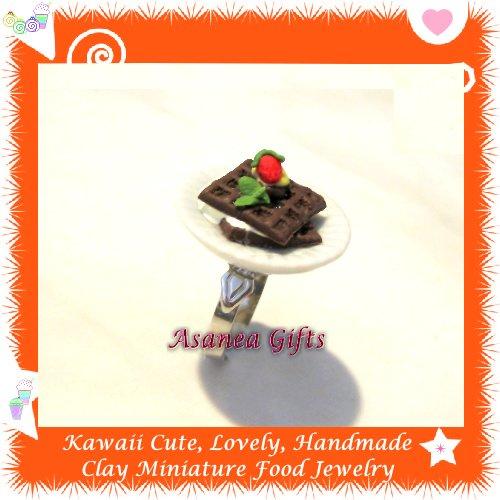 HANDCRAFTED JEWELRY - MINI CHOCOLATE WAFFLE PLATE PENDANT RING ECMFJ-RG1006