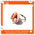 HANDCRAFTED JEWELRY - MINI SWEET PASTRY ON PLATE PENDANT RING ECMFJ-RG1026