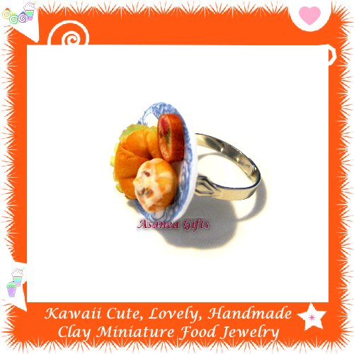HANDCRAFTED JEWELRY - MINI CROISSANT LUNCH PLATE PENDANT RING ECMFJ-RG1025