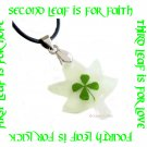 GLOW IN THE DARK MAPLE LEAF FOUR LEAF CLOVER NECKLACE ECFLC-NP2000