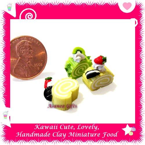 LOG CAKE SLICES - HANDMADE POLYMER CLAY FOOD FOR DOLLS HOUSE OR MINIATURISTS ECDMF-CC4007