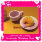 CROISSANT SANDWICH SET - HANDMADE POLYMER CLAY FOOD FOR DOLLS HOUSE OR MINIATURISTS ECDMF-BK1002