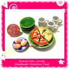 PIZZA TIME SET - HANDMADE POLYMER CLAY FOOD FOR DOLLS HOUSE OR MINIATURISTS ECDMF-BK4001