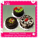 CHOCOLATE CAKE TIME SET - HANDMADE POLYMER CLAY FOOD FOR DOLLS HOUSE OR MINIATURISTS ECDMF-CK4004