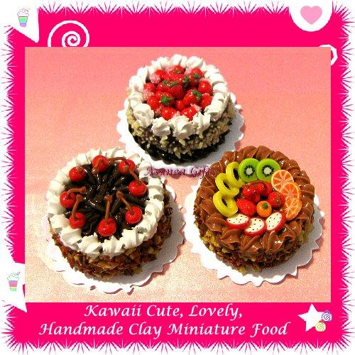 ASSORTED FRUIT CAKE SET - HANDMADE POLYMER CLAY FOOD FOR DOLLS HOUSE OR MINIATURISTS ECDMF-CK4002