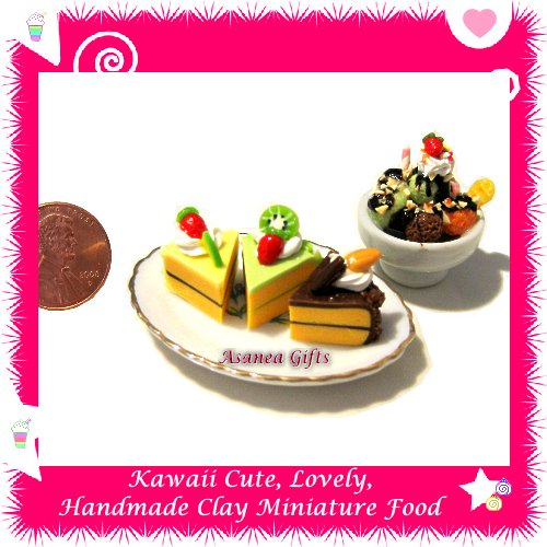 CAKE & ICE CREAM DESSERT SET - POLYMER CLAY FOOD FOR DOLLS HOUSE OR MINIATURISTS ECDMF-CK1002