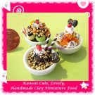 DOLLHOUSE MINIATURE ICE CREAM BOWL SUPER DESSERT SET - HANDMADE FOR MINIATURISTS (ECDMF-IC2001)