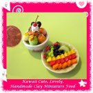 FRUIT & ICE CREAM DESSERT SET - HANDMADE CLAY DOLLHOUSE MINIATURE FOOD FOR COLLECTORS ECDMF-IC1009