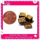 DOLLHOUSE CLAY CHOCOLATE BROWNIE SQUARES NUT TOPPING - 4 PCS (ECDMF-CC4004)