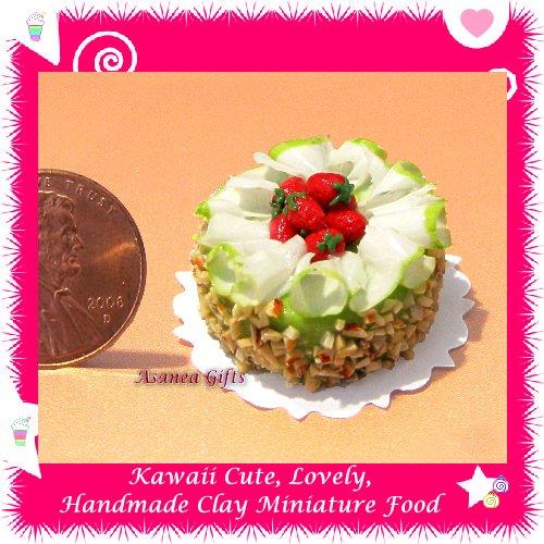 DOLLHOUSE MINIATURE GREEN TEA BIRTHDAY CAKE ALMOND NUT TOPPINGS W/ STRAWBERRY FRUIT (ECDMF-CK3014)